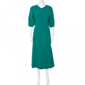 Joseph Green Stretch Crepe Dante Midi Dress M