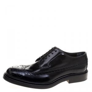 Joseph Black Brogue Leather Dennis Lace Up Derby Size 39