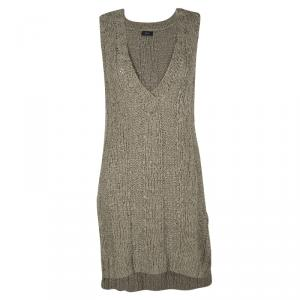 Joseph Brown Hand Knit Woven Tape Oversized Tank Top M