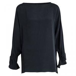 Joseph Grey Long Sleeve Matt Silk Erin Top L
