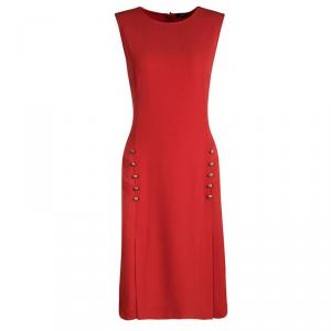 Joseph Red Crepe Sleeveless Step Button Dress M