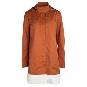 Joseph Orange Techno Taffeta Contrast Trim Hooded Zero Jacket M