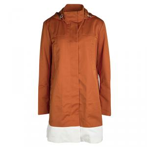 Joseph Orange Techno Taffeta Contrast Trim Hooded Zero Jacket S