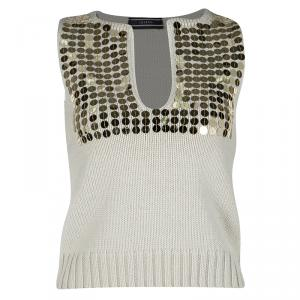 Joseph Beige Embellished Wool Sleeveless Sweater S - used