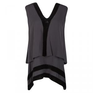 Joseph Grey Silk Velvet Panel Detail Layered Asymmetric Top S