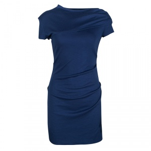 Joseph Blue Draped Wool Jersey Maria Dress S