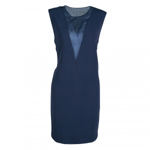 Joseph Navy Blue Organza Panel Fluide Crepe Sleeveless Finland Dress M