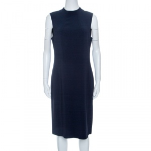 Joseph Navy Blue Sammy Fluide Crepe Sleeveless Dress L