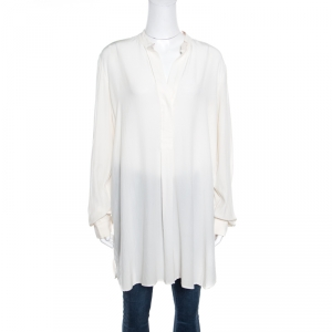 Joseph Off White Contrast Neckline Silk Crepe de Chine Dara Blouse L