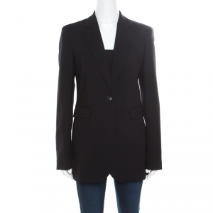 Joseph Black Stretch Wool Single Button Laurent Blazer M