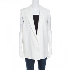 Joseph Off White Heavy Cotton and Linen Sleeveless Irving Blazer M