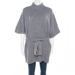 Joseph Grey Cashmere Luxe Roll Neck Belted Top L