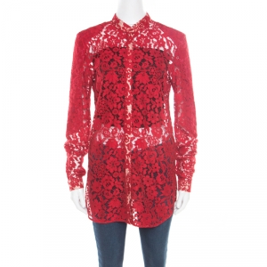 Joseph Red Floral Lace Mandarin Collar Long Sleeve Ida Shirt M
