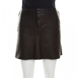 Joseph Brown Minnie Nappa Matte Lamb Leather Skirt M