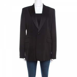 Joseph Black Wool Satin Lapel One Button Phillipe Couture Blazer L