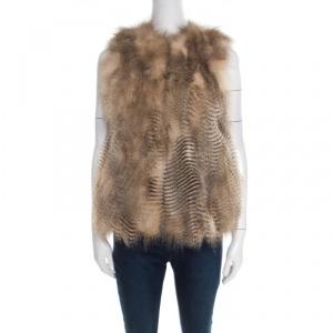 Joseph Beige Coyote Fur Open Front Callas Vest S