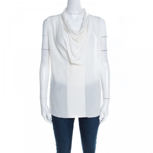 Joseph Off White Silk Cowl Neck Sleeveless Milton Blouse M