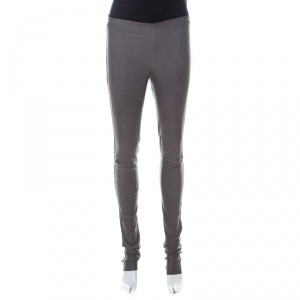 Joseph Grey Stretch Leather Elastic Waist Leggings S