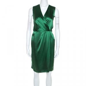 Joseph Green Silk Satin Stellina Wrap Dress M - used