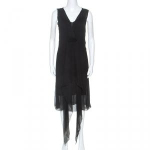 Joseph Black Silk Draped Overlay Midi Dress M - used