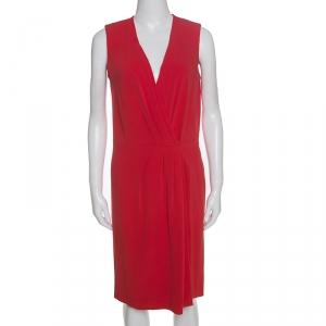 Joseph Red Crepe Pleat Detail Stellina Wrap Dress M - used