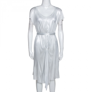 Joseph Metallic Silver Draped Front Mini Dress S - used