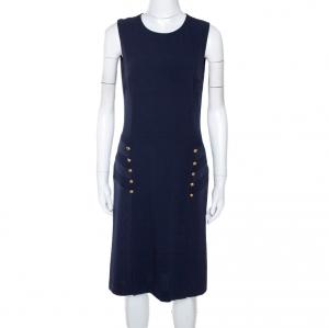 Joseph Navy Blue Crepe Sleeveless Step Button Dress M - used