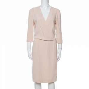 Joseph Peach Crepe Wrap Effect Scala Sheath Dress M