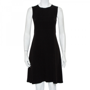 Joseph Black Crepe Paneled Sleeveless Midi Dress M