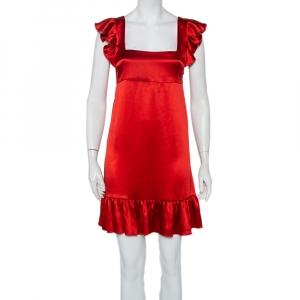 Joseph Red Silk Satin Ruffle Detail Sleeveless Bamako Dress M - used
