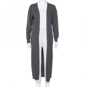 Joseph Dark Grey Cashmere Open Front Long Cardigan M