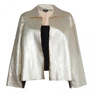 Joseph Gold Metallic Lambskin Jacket L