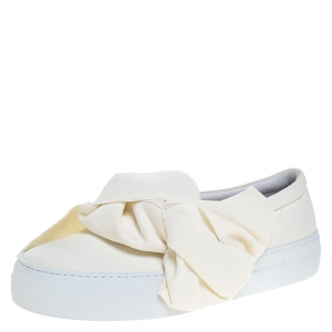 Joshua Sanders Off-white Canvas Bow Slip On Sneakers Size 38