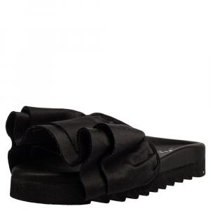 Joshua Sanders Black Satin Ruffle Slide Sandals Size 39