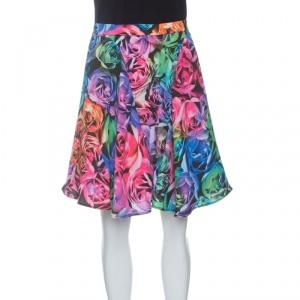 Just Cavalli Multicolor Rose Printed Flared Circular Skirt S