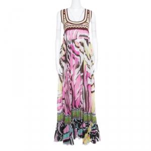 Just Cavalli Multicolor Printed Cotton Knit Bodice Detail Sleeveless Maxi Dress L