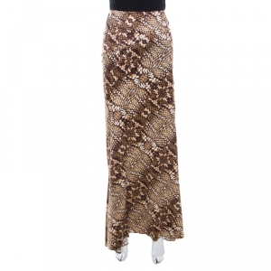 Just Cavalli Brown Snake Print Silk Satin Flared Maxi Skirt M