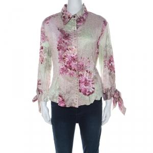 Just Cavalli Pink and Green Floral Printed Crinkled Satin Crystal Embellished Shirt L
