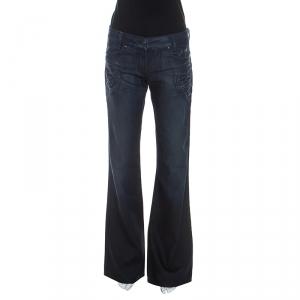 Just Cavalli Blue Dark Wash Denim Heart Patch Detail Jeans M