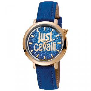 Just Cavalli Blue Rose Gold Plated Stainless Steel Logo JC1L007L0035 Women's Wristwatch 34MM