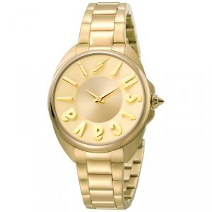Just Cavalli Champagne Gold Plated Stainless Steel Logo JC1L008M0085 Women's Wristwatch 34MM
