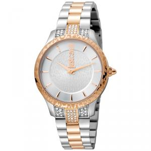 Just Cavalli Silver Rose Gold Plated Stainless Steel Animal JC1L004M0085 Women's Wristwatch 34MM