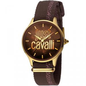 Just Cavalli Brown Gold Plated Stainless Steel JC1L032L0025 Women's Wristwatch 34MM