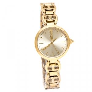 Just Cavalli Champagne Gold Stainless Steel Macrame Women's Wristwatch 28 mm