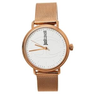 ساعة يد نسائية جست كافالي جي سي1أل012إم0085 ستانلس ستيل لون ذهبي وردي بيضاء 34 مم