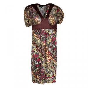 Just Cavalli Multicolor Printed Lurex Detail Short Sleeve Dress S used