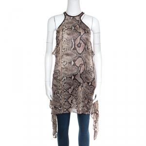 Just Cavalli Snakeskin Printed Sheer Silk Leather Braid Trim Racerback Dress M