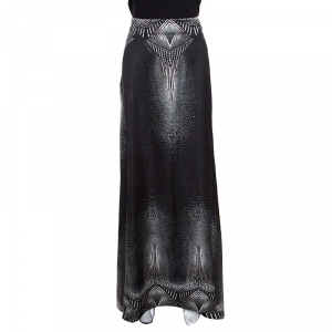 Just Cavalli Metallic Black Printed Satin Maxi Skirt M
