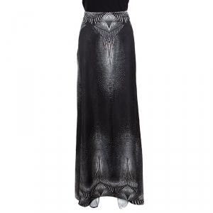 Just Cavalli Metallic Black Printed Satin Maxi Skirt M