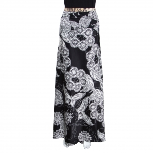 Just Cavalli Black Floral and Butterfly Printed Satin Flared Maxi Skirt M